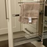 Two towel rails and shelf Full extension runners 12 kg weight capacity Soft closing